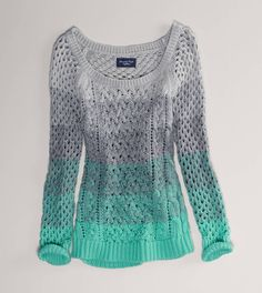 fashion, color, open stitch, crochet sweaters, american eagle outfitters, stitch sweater, closet, ombr open, shirt