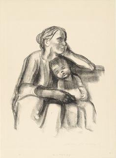 Käthe Kollwitz (German, 1867–1945) Worker Woman with Sleeping Child (Arbeiterfrau mit schlafendem Jungen) Date:(1927)Medium:Lithograph