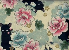 Hey, I found this really awesome Etsy listing at https://www.etsy.com/listing/239339452/neko-floral-cat-fabric-ecru-with-black
