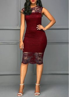 Scalloped Hem Round Neck Wine Red Sleeveless Dress.