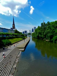 A view of Downtown Frankfurt, Germany from one of its bridges. By Luis Jacome.