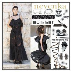 """Nevenka.com.au"" by gaby-mil ❤ liked on Polyvore featuring Gianvito Rossi, Bobbi Brown Cosmetics, Gorgeous Cosmetics, Akira, Alex and Ani, Eva Fehren, dress, choker and nevenka"