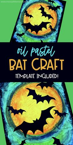Bat craft - oil pastel art with a bat template included. A perfect Halloween craft for kids! Bat craft - oil pastel art with a bat template included. A perfect Halloween craft for kids! Halloween Arts And Crafts, Halloween Crafts For Toddlers, Halloween Activities, Art Activities, Toddler Crafts, Halloween Kids, Fall Crafts, Homemade Halloween, Halloween Decorations