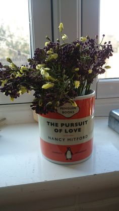 Sprouting broccoli flowering in a lovely mug.