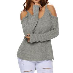 Cheap Fashion Women's V-neck Whole Color Strapless Longer In the Rear Sexy Sweater For Big Sale!Fashion Women's V-neck Whole Color Strapless Longer In the Rear Sexy Sweater Cold Shoulder Sweater, Long Sleeve Sweater, Grey Sweater, Sweater Cardigan, Trendy Tops For Women, Cardigans For Women, Pullover Mode, Casual Sweaters, Winter Sweaters