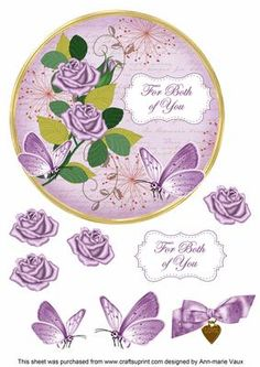 Lilac Rose Both of You 7in Circle Decoupage Topper on Craftsuprint - Add To Basket!