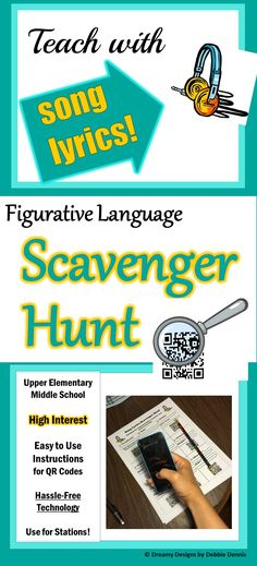 A fun way to review or reinforce figurative language terms! Engage students in finding examples of similes, metaphors, personification, hyperbole, oxymoron, alliteration, etc. in MUSIC that they enjoy using technology they LOVE. https://www.teacherspayteachers.com/Store/Dreamy-Designs-By-Debbie-Dennis