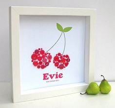 personalised baby girl button cherry artwork by sweet dimple | notonthehighstreet.com