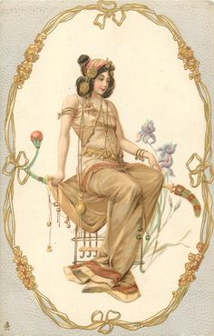 seated woman in oval, facing right, gilt, yellow nouveau frame, iris, light grey or green surround