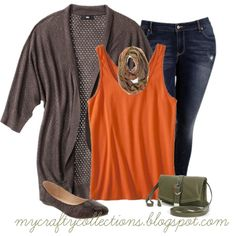 Women's Plus-size Outfit - Cardigan, tank top, distressed jeans, animal print flat, scarf, and fold-over handbag. Cute!