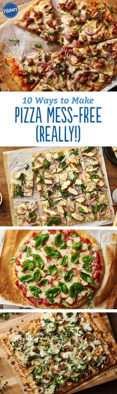 10 Ways to Make Pizza Mess-Free (Really!) New Pillsbury Best Pizza Dough is high quality, fresh dough made with simple. Healthy Pizza Recipes, Cooking Recipes, Quick Meals, No Cook Meals, Pillsbury Recipes, Italian Dishes, Italian Pasta, Fancy, Pizza Dough