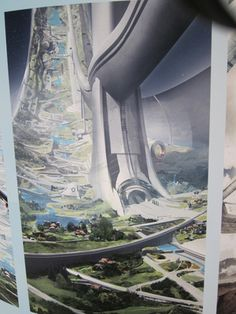 Floating colony in the environment& background. New Elysium concept art shows off Matt Damon& perfect space station futuristicart Futuristic City, Futuristic Architecture, Fantasy City, Sci Fi Fantasy, Matt Damon, Space City, Space In Art, Sci Fi City, Sci Fi Environment