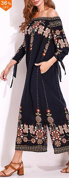 Plus Size Sexy Women Slash Neck Floral Printed Tie Sleeve Dress. #women #dresses #boho