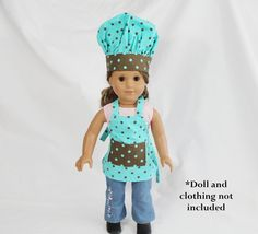 Teal and Brown Dot Doll Size Apron and Chef Hat on Etsy, $20.99