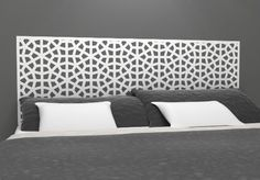 """Moroccan Pattern Headboard Decal - Geometric Pattern Vinyl Wall Sticker - Removable Bedroom Decor - Inspired by Morocco - Headboard Wall Graphic (twin 45"""" x 22"""", white)"""