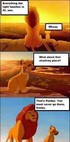 """Aahahaa. YES.   IU meets The Lion King. """"That's Purdue. You must never go there, Simba."""""""