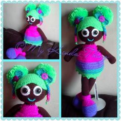 Crochet doll with afro puffs!