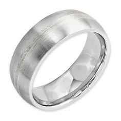Other Wedding and Anniv Bands 92866: Chisel Cobalt Chromium Sterling Silver Inlay Satin 8Mm Ring Band Size 8 -> BUY IT NOW ONLY: $83.25 on eBay!