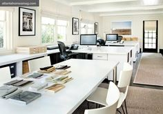 White laminate tables in office of  Barbara Westbrook