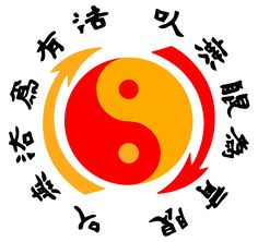 "The Jeet Kune Do emblem is a registered trademark held by the Bruce Lee Estate. The Chinese characters around the Taijitu symbol read: ""Using no way as way"" and ""Having no limitation as limitation"" The arrows represent the endless interaction between yang and yin.[46]"