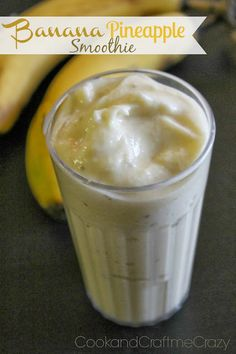 "1 1/2 c. frozen Banana pieces and frozen Pineapple chunks 1 c. milk (I use 1%) (You can always add more milk if you want it more ""liquidy"" or less milk for thicker smoothies)  *optional - 1-2 T. Rolled Oats"