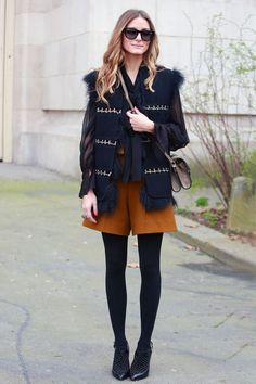 Olivia Palermo in luxe layers.  #Streetstyle at Paris Fashion Week #pfw