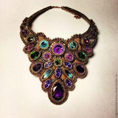 "Buy Necklace with crystals ""Swarovski"" - necklaces, beads, Japanese beads, bronze, jewelry beads, Swarovski"