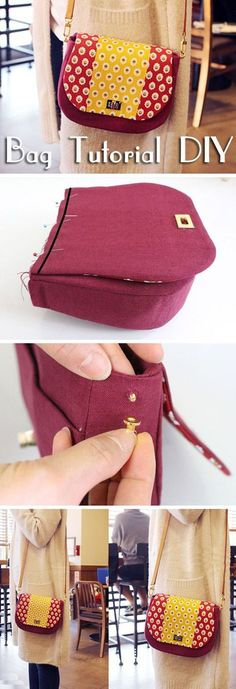 Picture Tutorial for making a cute bag. How to make bag. The post Picture Tutorial for making a cute bag. How to make bag. Patchwork Bags, Quilted Bag, Purse Patterns, Sewing Patterns, Tote Pattern, Diy Bag Strap, Diy Purse With Strap, Bag Sewing, Diy Sac