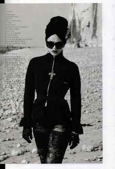 Damir Doma Women's Autumn Winter 2012-13 stone cross pendant in the French Revue des Modes (France).