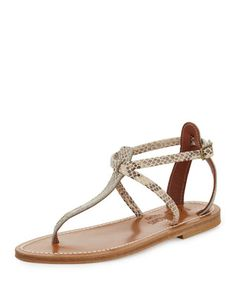 Buffon Snake-Print Thong Sandal by K. Jacques at Bergdorf Goodman. Cute  Sandals 2761f6857b1e