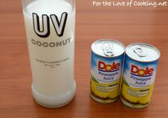 Coconut Vodka and Pineapple Juice Party Drinks, Cocktail Drinks, Fun Drinks, Yummy Drinks, Cocktails, Mixed Drinks Alcohol, Alcohol Drink Recipes, Alcohol Shots, Cherry Margarita