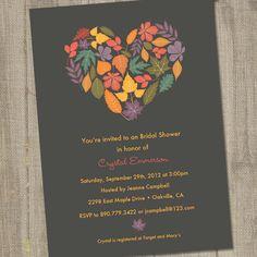 Fall In Love Autumn Printable Bridal Shower Invitation. $15.00, via Etsy.