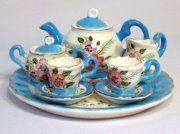 VERY PRETTY 10 PCE CERAMIC MINIATURE TEA SET WITH TRAY