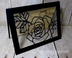 Stamp & Scrap with Frenchie: More Rose Garden Stampin'Up! Thinlits, window fram card