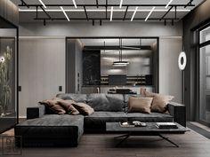 DE&DE/Brutal minimalism on Behance Master Bedroom Interior, Bathroom Interior, Living Area, Living Room, Interior Design Photography, Common Area, Lounge Areas, Restaurant Design, Interior Architecture