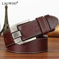 LAUWOO mode hommes casual véritable ceinture en cuir De Haute qualité peau  de vache rétro boucle ceinture nouveau design Brun Ceintures livraison  gratuite 1d99ad2ed35