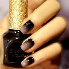 Black to beige ombre