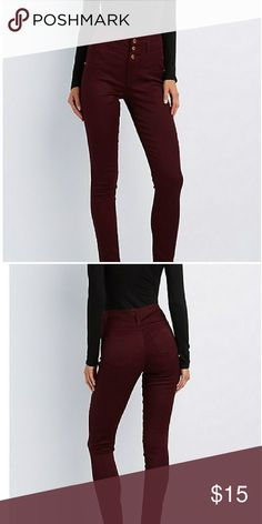 Burgundy high waist skinny jeans Trendy high waist skinny jeans with faux front pockets! They're comfortable, have patch pockets in the back, slim fit, and perfect for this upcoming season. Charlotte Russe Jeans Skinny