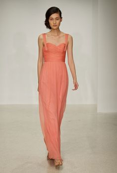 Brides.com: . Style G695C, criss-cross ruched bodice guava gown with strap, $310, Amsale  See more Amsale bridesmaid dresses.
