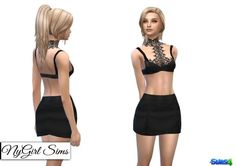 NY Girl Sims: Leather Lace Harness Bra andFaux Leather Mini Skirt • Sims 4 Downloads
