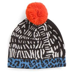 Animal Print Wool Blend Beanie ($13) ❤ liked on Polyvore featuring accessories, hats, beanie caps, pom pom hats, pom pom beanie hat, beanie hat and animal print hats