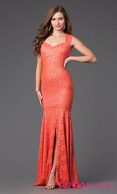 Floor Length Open Back Lace Gown by Jump at PromGirl.com