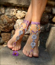 GYPSY purple BAREFOOT Sandals Anklets Crochet SANDALS sole less shoes Foot Jewelry antique flowers. $79.00, via Etsy.