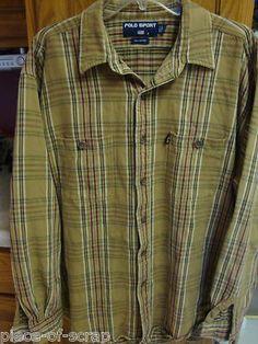 $32 RALPH LAUREN POLO Sport Flannel Shirt L/S Long sleeve XL EXTRA LARGE VINTAGE