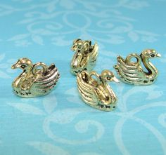 6 Swan Charms Bronze 3D (17100) Antique Gold Bird Charm Bird Lover Pendant Wedding Charm Bulk Jewelry Making Supplies Fantasy Fairy Tale