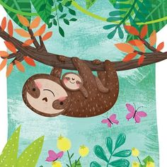 Illustrations for books for toddlers, kids, preschoolers featuring sweet animals and diverse characters. Baby Sloth, Cute Sloth, Nature Illustration, Cute Illustration, Pinterest Foto, Sloth Drawing, Dibujos Cute, Cute Animal Drawings, My Spirit Animal