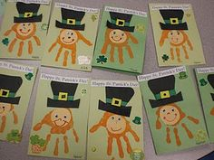 Happy St. Patrick's Day cards made with handprints