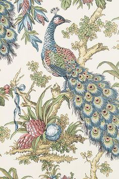 Anthropologie's New Arrivals: Decorate your Walls Peacock Toile Wallpaper. This is a reproduction of the wallpaper in my new dining room, except the blues and reds are switched, and the colors are much deeper. Peacock Wallpaper, Toile Wallpaper, Unique Wallpaper, Bathroom Wallpaper, New Wallpaper, Pattern Wallpaper, Wallpaper Ideas, Teal Kitchen Wallpaper, Mosaics