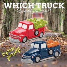 Which one is your favorite one #redtruck #bluetruck #scentsywarmer #socute #homedecor #homesmellsamazing #giftidea #treatyourself