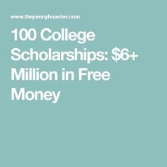 Worried about how to pay for college, or how to graduate without a ton of student loans? Here's a list of 100 college scholarships. Grants For College, College List, Financial Aid For College, College Fund, College Planning, Online College, Scholarships For College, College Hacks, Education College